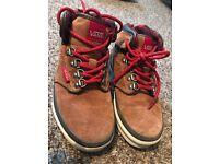 Boys brown suede vans boots .