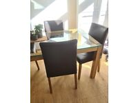 6 x Brown Leather Dining Chairs from Habitat