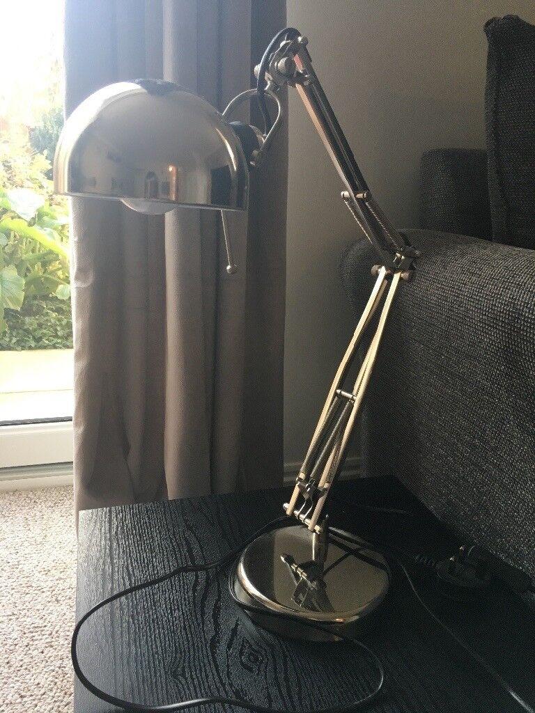 Desk lamp in chrome silver