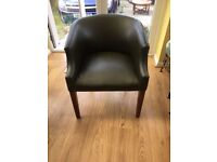 **Green leather bucket chair**