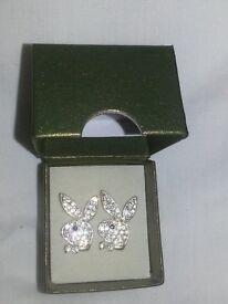 Playboy Sterling Silver diamond earrings