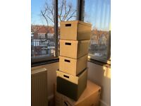 6no. Storage box with lid, black, 25x35x20cm IKEA [TJENA]