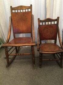 MOTHER & CHILD WOODEN ROCKING NURSING CHAIRS - Victorian / Edwardian - COLLECTION ONLY Morden SM4