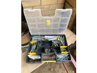Assortment of nuts bolts and screws in carry case