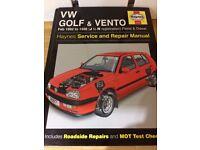 VW Golf & Vento Haynes Manual 1992 - 1996 Petrol and Diesel models