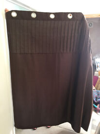 Curtains, chocolate brown, lined eyelet curtains.
