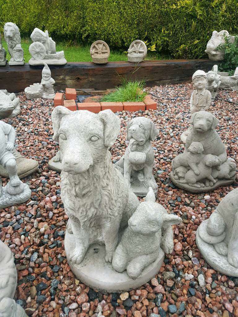 Concrete Collie Dog With Lamb Garden Ornament In