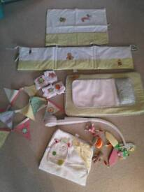 Mamas & Papas Gingerbread nursery bundle: baby change mat, mobile, bedding, muslins, towel & bunting