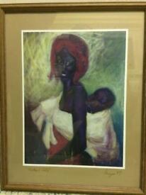 Framed Picture of African Woman & Child