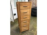 Wooden Filing Cabinet 6 Drawers Natural Colour Storage Study Office Furniture