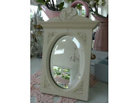 Small Hand Painted Antique Vintage Edwardian Mirror Shabby Chic F&B Off White