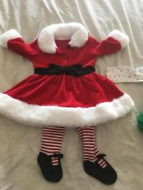 Mrs Claus dress and tights (0-3months).