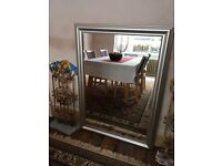 Large Silver Painted Wooden Framed Mirror