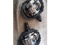 Shimano PD-M424 clipless pedals dual sided with platform for normal shoes, used once, boxed