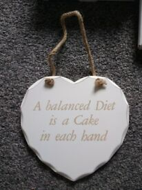 NEW 'A balanced Diet is a Cake in each hand' plaque