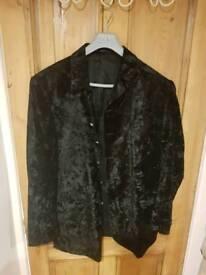 Black crushed velvet suit - 2 piece