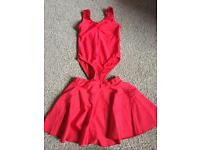 Girls red roch valley leotard and starlite red skirt