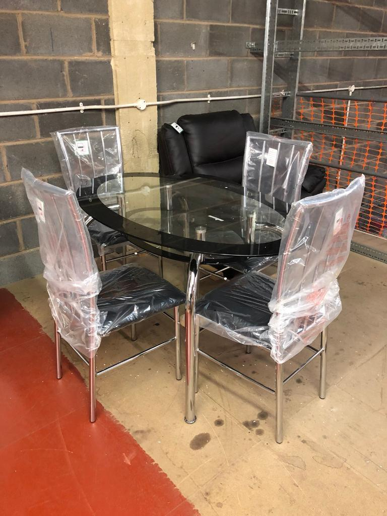 Brand Bew Oval Shape Glass Dining Table With 4 Chairs In Oldham Manchester Gumtree
