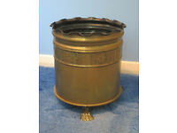 Vintage brass waste bin, brass wartime shell waste bin