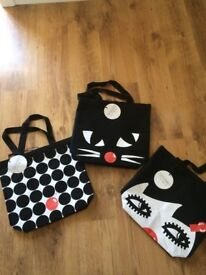 Lulu Guiness three limited edition shopper tote bags - excellent condition and never used