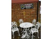 Parisian Vintage Cast Aluminium Garden Table and Chairs