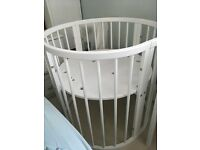 New white oval crib and cot set