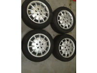 4 X MERCEDES E CLASS ALLOY WHEELS WITH 1 NEW TYRE GOODYEAR 215/55R16 93V NCT3