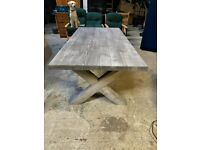 ⭐⭐ One-of-a-Kind Handmade Rustic Grey Lime-wash Dining Table⭐⭐