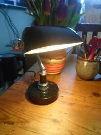BANKERS ANTIQUE STYLE DESK LAMP, BLACK AND CHROME.