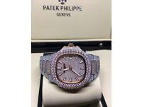 2c00ba29e6e Patek phillipe iced diamond bi rose gold Audemars piguet watch Cartier  santos