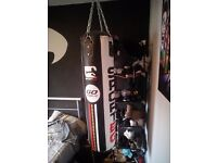 Punch bag and 2 sets of gloves for sale