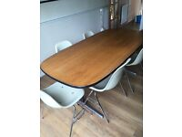 Retro oak and metal dinning table