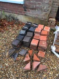 Victorian Quarry Tiles, Reclaimed, 6 x 6 inch, 82 red, 92 black plus halves