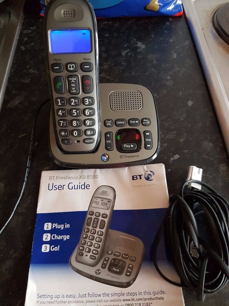 bt home phone with answering machine cables etc
