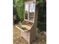 Bookcase / bureau writing desk designer paper clay painted Rustic chic