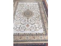 5 foot by 7 foot Light brown embroidery design rug for sale