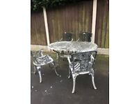 Reclaimed Cast Alloy Garden Patio Set Large Oval Table & 4 Chairs Can Deliver