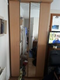 Beech double wardrobe - excellent condition,