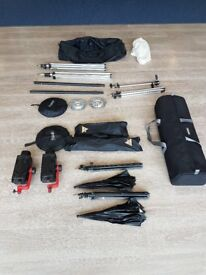 Portable Photography Studio: Multiblitz Two Head Kit, German made with accessories.