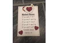 Kitchen Rules Plaque