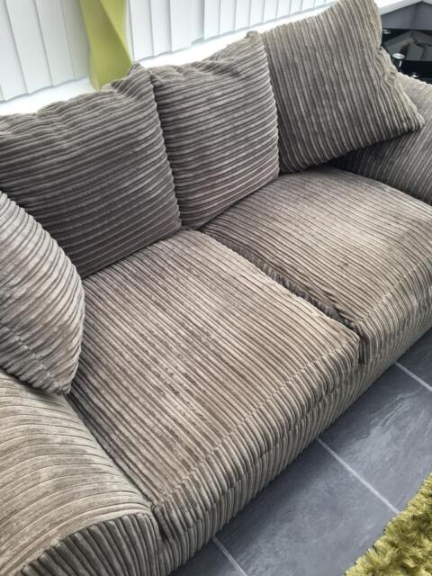 Grey Corduroy 2 Seater Sofa And Snuggle