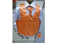 SPECIAL JOB LOT DEAL - BUY 30 ORANGE WAISTCOATS WITH MATCHING CRAVAT & HANKY FOR £400. SMALL TO 3XL.