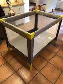 Travel cot- used once!