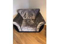 Large crushed velvet armchair