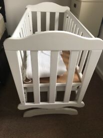 Saplings glider swing cot with Claire de lune bumper and quilt set