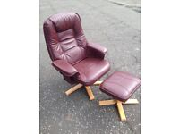 2 x Burgendy recliner chairs with matching footstools.