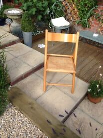 Pine and rattan folding chair