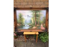 Large wooden carved framed Scenic oil on canvas, signed