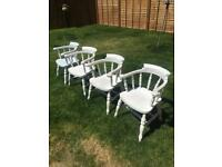 4 Solid Pine Wood Heavy Carver Chairs