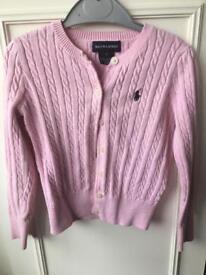 Ralph Lauren pink girls cardigan in very good condition